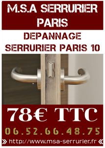 serrurier paris 10 d pannage 24h 24 78 ttc. Black Bedroom Furniture Sets. Home Design Ideas