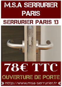 Serrurier Paris 13 - Ouverture de porte Paris 13