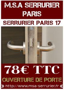 Serrurier Paris 17 - Ouverture de porte Paris 17