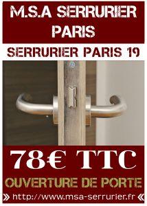 Serrurier Paris 19 - Ouverture de porte Paris 19