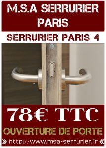 Serrurier Paris 4 - Ouverture de porte Paris 4
