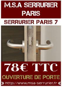 SERRURIER PARIS 7 - OUVERTURE DE PORTE PARIS 7